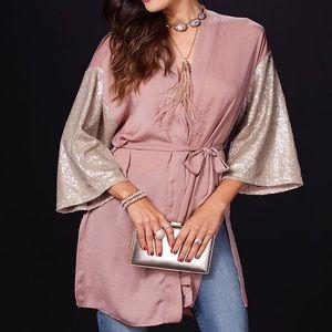 Charming Charlie's Raquel Sequin Sleeve Kimono
